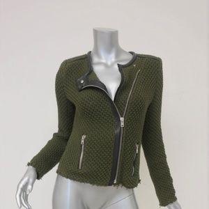 IRO Jacket Miali Olive Cotton Knit Size 2